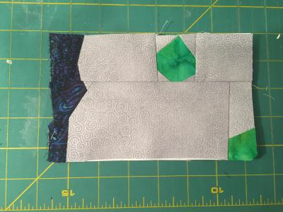 Now two separate pieces are sewn together